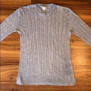 Cable knit grey pullover sweater
